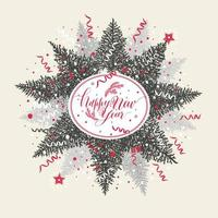 Christmas illustration with calligraphic text and tree.