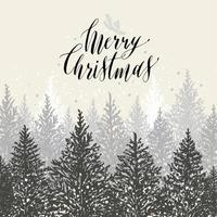 Hand drawn christmas card. New year trees with snow.