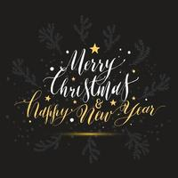 Calligraphic text merry christmas happy new year with snow.