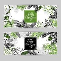 Merry Christmas greeting banners with new years tree and calligraphy