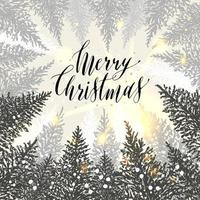 Hand drawn christmas card. New year trees with snow. Vector design illustration.