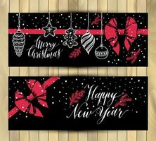 Banners set. New Year's toys hand drawn style on black with red bow. Vector greeting banners for Christmas