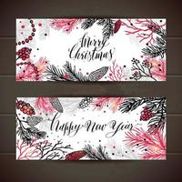 Merry Christmas greeting set of banners with new years tree and calligraphy