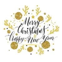 New Year lettering, Hand drawn christmas greeting card with gold glitters.