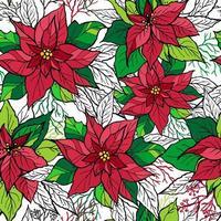 Navidad de patrones sin fisuras de poinsettia con letras dibujadas a mano. Ilustración de decoración navideña.