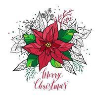 tarjeta de navidad de poinsettia con letras dibujadas a mano. Ilustración de decoración navideña.