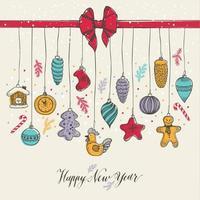 juguetes de año nuevo estilo dibujado a mano vector