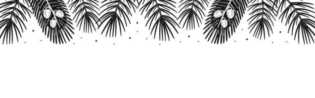 Spruce branches, pine tree elements border. Forest, nature. vector