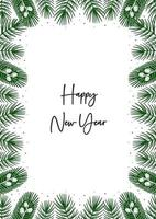 Happy New Year. Spruce branches, pine tree elements border. Christmas greeting card. vector
