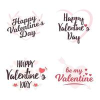 Valentine's day lettering icon set vector