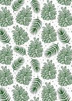 Cone with spruce branch, pine tree element seamless pattern, background, texture.