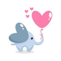 Cute elephant holding a heart shaped balloon vector