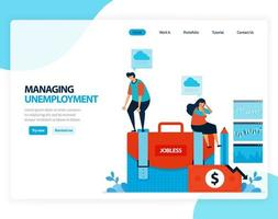Vector illustration of managing unemployment. social security program for post-lay-off employees. Flat cartoon for landing page, template, ui ux, web, website, mobile app, banner, flyer, brochure