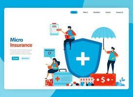 Diseño vectorial de página de destino para seguros micro financieros y protección de la salud de bajo costo. Ilustración de dibujos animados plana para página de destino, plantilla, ui ux, web, sitio web, aplicación móvil, banner, volante, folleto vector