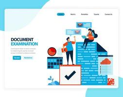 Vector illustration of document examination. checking legal document for recording, taxation, banking. Flat cartoon for landing page, template, ui ux, web, website, mobile app, banner, flyer, brochure