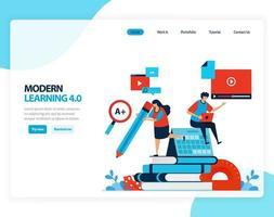 Vector illustration of modern learning 4.0 efficiency of digital education, learning, schooling. Flat cartoon for landing page, template, ui ux, web, website, mobile app, banner, flyer, brochure