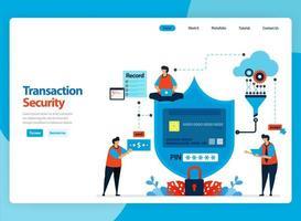 Landing page vector design for transaction security and customer data encryption process. Flat cartoon illustration for landing page, template, ui ux, web, website, mobile app, banner, flyer, brochure