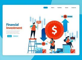 Landing page vector design for illustration of financial investment and foreign exchange trading. Flat cartoon for landing page, template, ui ux, web, website, mobile app, banner, flyer, brochure