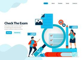 website design of checking exams and surveys, evaluating student exam results and learning effectiveness. Flat illustration for landing page template, ui ux, website, mobile app, flyer, brochure, ads