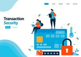 landing page template of secure transactions using credit cards and banking facilities. security with a password lock. illustration for ui ux, website, web, mobile apps, flyer, brochure, advertisement