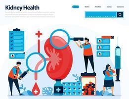 Ilustración para comprobar la salud de los riñones. enfermedades y trastornos del riñón. control y manipulación de órganos internos. diseñado para página de destino, plantilla, ui ux, sitio web, aplicación móvil, folleto, folleto vector