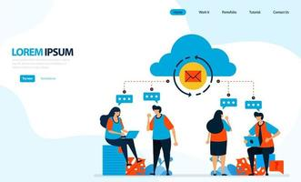 Vector illustration of could reload. people discussing and recorded into the cloud computing, sending group emails. designed for landing page, template, ui ux, website, mobile app, flyer, brochure