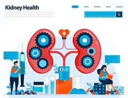 illustration for checking kidney health. diseases and disorders of kidney. checking and handling for internal organs. designed for landing page, template, ui ux, website, mobile app, flyer, brochure