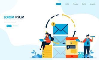 ilustración vectorial de enviar mensajes instantáneos y correos electrónicos. recargar en el envío de mensajes para la seguridad y comodidad del usuario. diseñado para página de destino, plantilla, ui ux, sitio web, aplicación móvil, folleto, folleto vector
