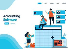 landing page template of accounting software with a worksheet to making of balance sheet. spreadsheet software on computers and laptops. illustration for ui ux, website, web, mobile apps, flyer, ads