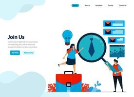 website design of join us, hiring and refer a friend program. recruitment announcements and job openings. Flat illustration for landing page template, ui ux, website, mobile app, flyer, brochure vector