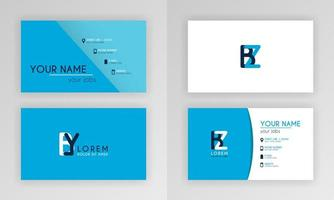 Blue Business Card Template. Simple Identity Card Design With Alphabet Logo And Slash Accent Decoration. For Corporate, Company, Professional, Business, Advertising, Public Relations, Brochure, Poster