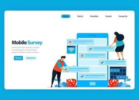 Landing page design for online survey and exam, reviewing customer satisfaction and user rating with mobile survey apps. Flat illustration for template, ui ux, website, mobile app, flyer, brochure