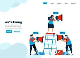 website design of hire and employee recruitment. we're hiring for company landing page. job seeker, career dan recruiting. Flat illustration for template, ui ux, website, mobile app, flyer, brochure vector