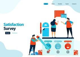 landing page template of emoticon satisfaction surveys. give rating and stars for apps services. good feedback with emoticons. illustration for banner, ui ux, website, web, mobile apps, flyer, card