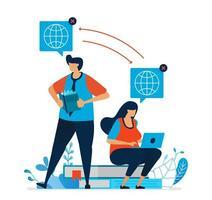 ilustración vectorial de aprendizaje a distancia para estudiantes. los estudiantes disfrutan aprendiendo con Internet. tecnología de e-learning para la educación y el estudio modernos. se puede utilizar para la página de destino, plantilla, interfaz de usuario, web