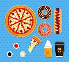 Illustration Set Of Pizza Orders At American Fast Food Restaurants. Poster Elements Of Food Complete With Hot Coffee, Orange Juice With Float Ice Cream, Slices pizza With Melted Mozzarella Cheese vector