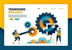 Cartoon illustration of solving puzzles in the industry. Building a team to advance the company. Human resource development fixing. Vector design for landing page website web banner mobile apps poster