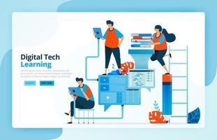 Vector illustration of activities from modern learning processes with technology, efficiency in education and distance learning. Learner communication. Designed for landing pages, web, mobile apps
