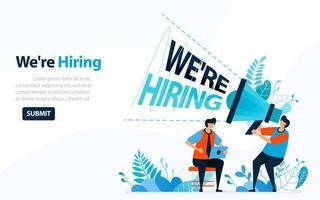 personas que buscan empleados con palabras que estamos contratando, ilustración de vector de concepto. se puede utilizar para la página de destino, plantilla, interfaz de usuario, web, aplicación móvil, cartel, banner, folleto, fondo, sitio web, publicidad