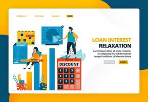 Cartoon illustration of signing loan interest discount agreement for business stimulus. Banking tax amnesty to prevent bankruptcy. Vector design for landing page website web banner mobile apps poster