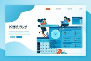 Cartoon illustrations for filling quizzes or online exams in distance learning program. Admission test schedule on calendar. Digital education. Vector design for landing page, web, mobile apps, poster