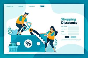 Landing page vector design of shopping discounts. Design for website, web, banner, mobile apps, poster, brochure, template, billboard, welcome page, promotion, cover, business card, advertisement
