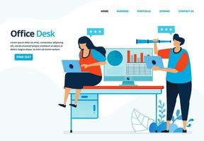Vector human illustration of office desk. People are working in an office or coworking space. Can use for landing page, template, mobile app, poster, banner, flyer, background, website, advertisement