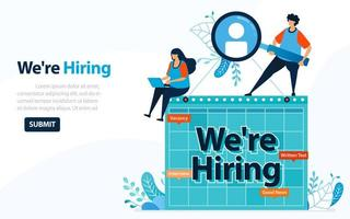 People Looking For Employees With Words We're Hiring, Concept Vector Ilustration. Can Use For Landing Page, Template, Ui, Web, Mobile App, Poster, Banner, Flyer, Background, Website, Advertisement