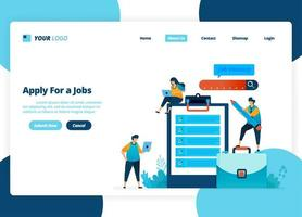 Vector landing page design of apply for jobs. Selection of recruitment and job advertisements. Illustration of landing page, website, mobile apps, poster, flyer