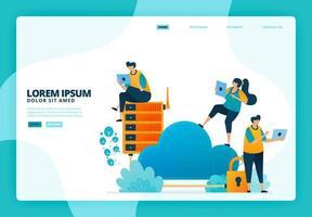 Ilustración de dibujos animados de seguridad en la nube y base de datos. diseño vectorial para la página de destino sitio web banner web aplicaciones móviles cartel