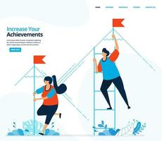 Vector human illustration of increase your achievement. Strategy and competition in achieving goals. Can use for landing page, template, mobile app, banner, flyer, background, website, advertisement