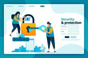 Landing page vector design of security and protection. Design for website, web, banner, mobile apps, poster, brochure, template, billboard, welcome page, promotion, cover, business card, advertisement