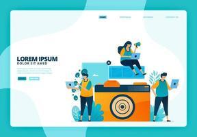 Cartoon illustration of analog cameras and films. Vector design for landing page website web banner mobile apps poster