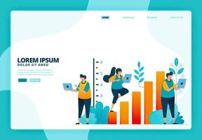 Cartoon illustration of business growth and statistics. Vector design for landing page website web banner mobile apps poster
